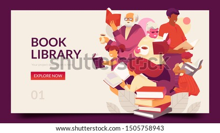 Book Library horizontal banner template with family reading books. Modern vector illustration concept for family education, online teaching, learning