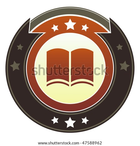 Book, literacy, or literary icon on round red and brown imperial vector button with star accents suitable for use on website, in print and promotional materials, and for advertising.