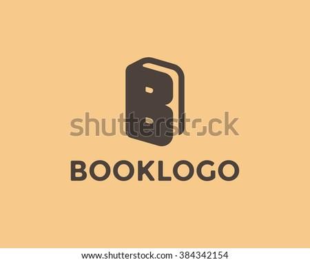 Book logo design template. Letter B symbol, book icon. Vector book store logo element