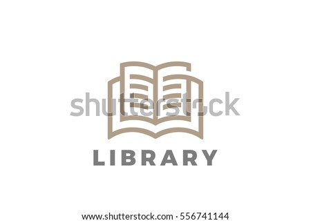 Book Logo Education Library design vector template Linear style