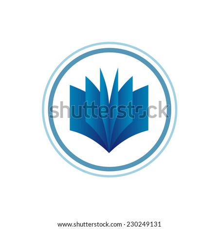 Book logo template Blue gradient style