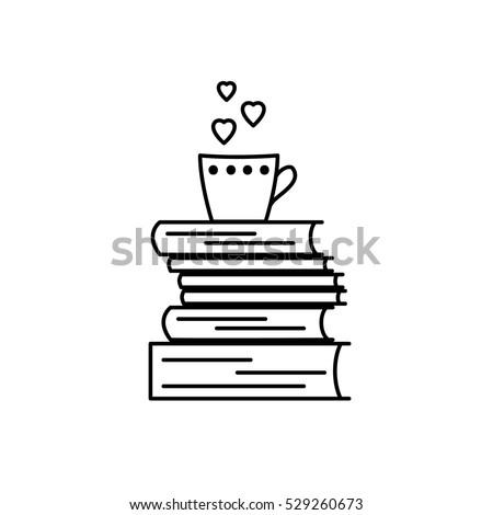 book love icon black and white