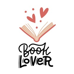 Book lover - hand drawn lettering. Heart signs and open book doodle style elements. Flat vector illustration isolated on white background. Literature fan, reading books concept for card, stickers