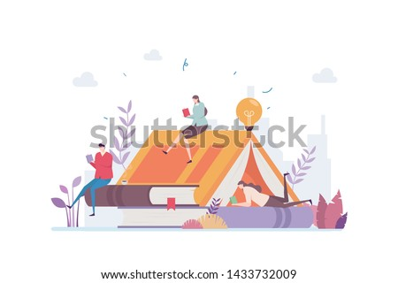 Book Lover Vector Illustration Concept Showing a group of book lover killing time relaxing in a book shape tent, Suitable for landing page, ui, web, App intro card, editorial, flyer, and banner.