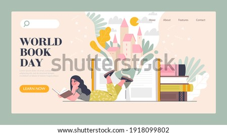 Book market, fair, or online reading concept. Smart woman reading book. World book reading or literacy day banner, web page layout. Flat cartoon vector illustration. Website, landing page template