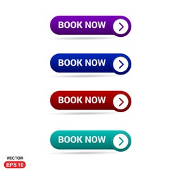 Book Now Button. Abstract beautiful text button with icon. Purple Button, Blue Button, Red Button, Green Button, Turquoise button. web design element. Call to action icon button