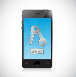 book now reservation on a mobile phone. isolated illustration over white