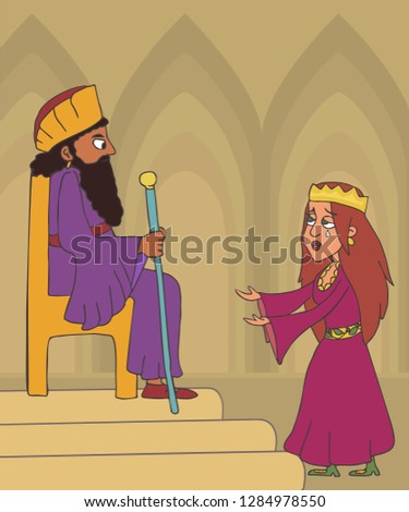 book of Esther , queen begging for mercy for jew people from king, funny cartoon vector illustration Foto stock ©