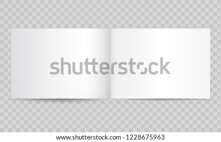 Book or magazine open blank pages. Vector isolated 3D catalog brochure or A4 horizontal landscape album booklet mockup with empty pages