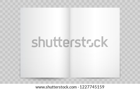Book or magazine open blank pages. Vector isolated 3D vertical catalog brochure or A4 booklet mockup with empty pages