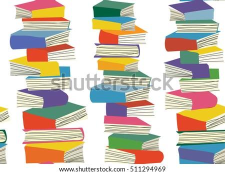 book piles seamless  pattern