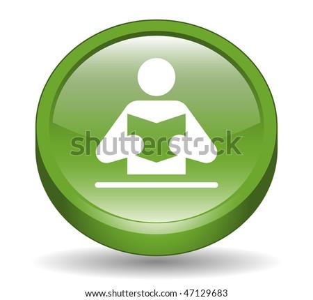 Book Reader Sign 3D Button