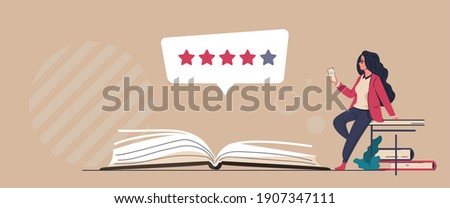 Book review. Reader feedback. Online service for analysis and comments about publications. Literature rating concept. People read and share opinions about stories or novels. Vector literary critic Stockfoto ©