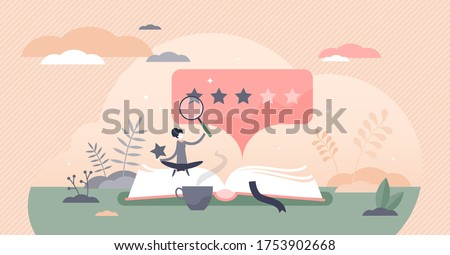 Book review vector illustration. Reading feedback flat tiny persons concept. Literature professional analysis for quality rating assessment and appraisal. Choice report scene with opinion publication.