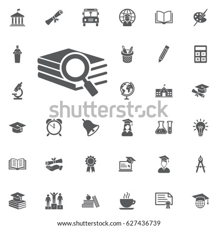 Book search icon on the white background. Education Vector Icon Set