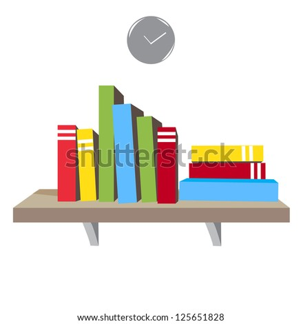 Book shelf with colorful books and clock on white background
