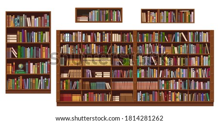 Book shelves and bookcase of library or bookstore, vector education. Bookshelf isolted objects with stacks and rows of books, antique and modern literature bookshop interior design
