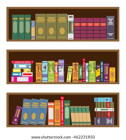 Royalty Free Stock Photos And Images Book Shelves In Flat