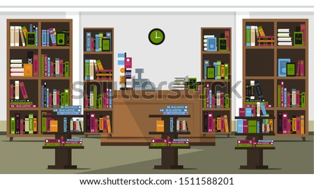 Book shop flat vector illustration. Empty school, university public library. Cartoon bookstore with nobody inside. Various books and students textbooks on shelves and cashier desk indoors