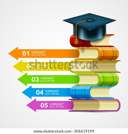 Book stack info on white background. Education template design element, Vector illustration