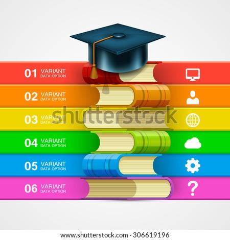 Book stack info on white background. template design element, Vector illustration