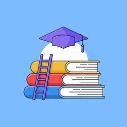Book stack with ladder and graduation toga hat on top for Educational stage vector illustration. simple outline cartoon style design