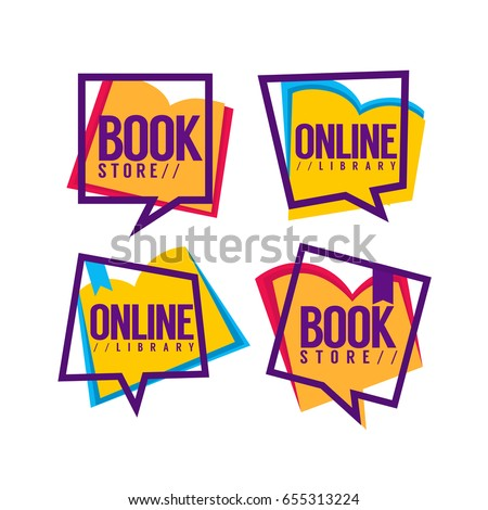 book store and online library, vector collection of logo and icons for your mobile app