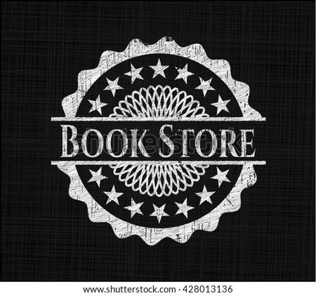 Book Store chalk emblem, retro style, chalk or chalkboard texture