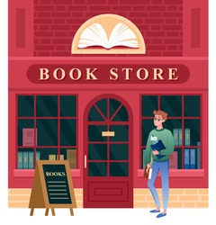 Book store facade vector illustration. Cartoon vintage city building architecture of bookstore and boy student character walking to door of shop to buy books, cityscape with bookshop background