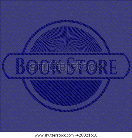Book Store jean or denim emblem or badge background
