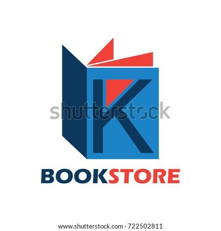 book store logo with alphabet K. vector illustration  Stock fotó ©