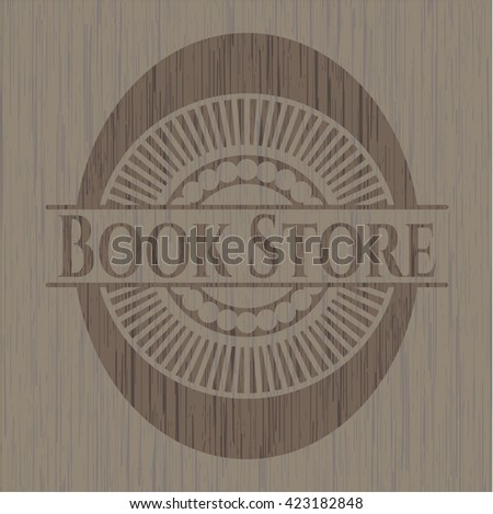 Book Store retro style wooden emblem