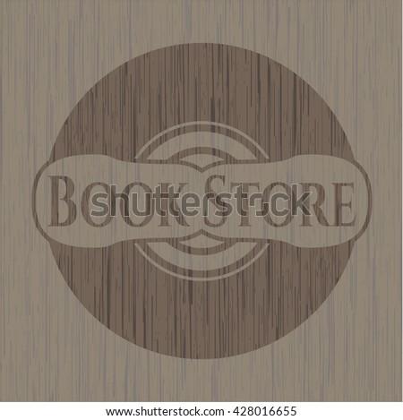 Book Store retro style wooden emblem