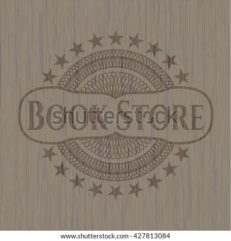 Book Store vintage wooden emblem