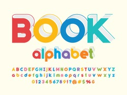 Book style alphabet design with uppercase, lowercase, numbers and symbol