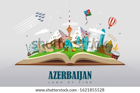 Book Travel Baku Azerbaijan Education Road trip. Tourism. Open book with landmarks. Travel Guide. Summer vacation. Travelling Educational vector illustration.