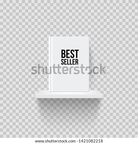 Book with Bestseller word on bookshelf realistic vector illustration. Rack mockup front view. 3D shelf with book on transparent background. Office, interior, bookstore showcase isolated design element