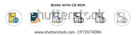 Book with cd rom icon in filled, thin line, outline and stroke style. Vector illustration of two colored and black book with cd rom vector icons designs can be used for mobile, ui, web Foto stock ©