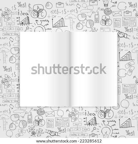 Book with drawing charts and success business strategy plan.