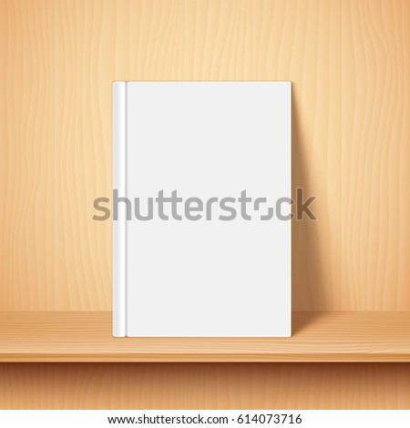 Book with empty blank cover on wooden bookshelf. White object mock-up or template