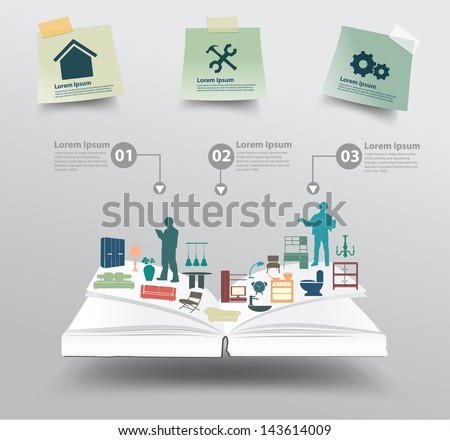 Book with home appliances icons, Home improvement and decoration service concept idea, Vector illustration modern template design