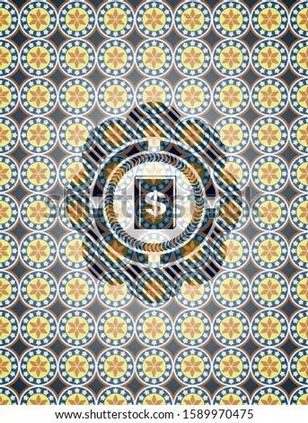 book with money symbol inside icon inside arabic emblem background. Arabesque decoration.