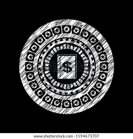 book with money symbol inside icon inside chalkboard emblem