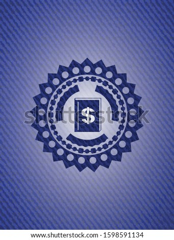 book with money symbol inside icon inside emblem with jean texture