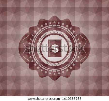 book with money symbol inside icon inside red seamless emblem with geometric pattern background.