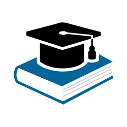 Book with vector graduation cap - education icon, academic university hat illustration