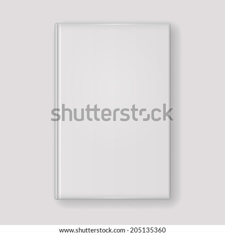 Book with white cover isolated on light grey background. Vector illustration. #205135360