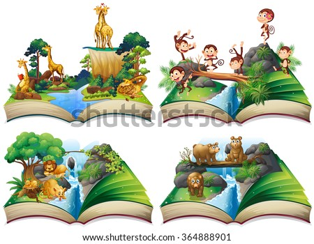 book with wild animals in the