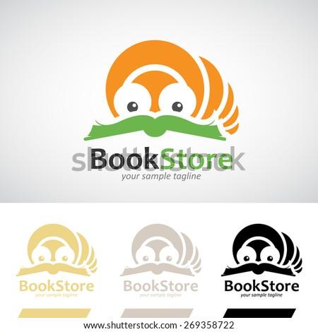 book worm reading a book logo