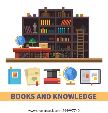 Bookcase. Cabinet and library. Books and knowledge. Vector flat illustration and icon set